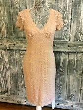 Cache Nude Floral Lace Dress Size 6 NWT $178