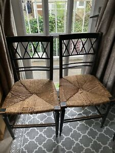 Two Antique Rush Seating Dining Chairs - Victorian? In Need Of Restoration.