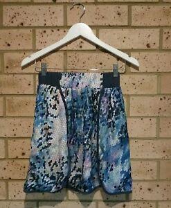 Blue Pattern Elastic Waist Lined Mid-thigh Length Skirt Ladies 8 'Purple Ginger'