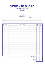 PERSONALISED PRINTED  BLUE A5 DUPLICATE INVOICE ORDER QUOTE TWO PART BOOK
