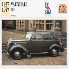 1937-1947 VAUXHALL TEN Classic Car Photograph / Information Maxi Card