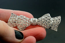 18k White Gold & Diamond Bow Pin (Brooch) 2.00 TCW F VVS1-VVS2 8.4g
