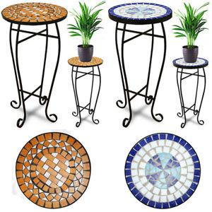 Beistelltisch Blumenhocker Blumenständer Balkontisch Bistrotisch Mosaik Metall