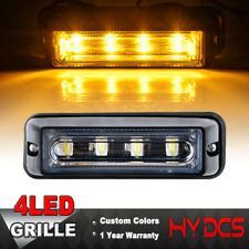 4LED COB Tow Truck Emergency Warning Beacon Strobe Grill Amber Yellow Light Lamp