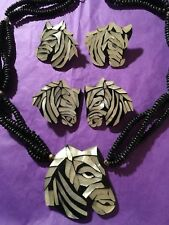 Vintage Zebra 1980s Necklace & 2 Pairs Earrings Plastic Celluloid Mosaics Set