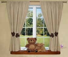 Baby Kids Nursery Room Colourful Curtains 155x155 Cm X 2 Panels - Brown Check