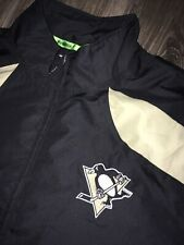Pittsburgh Penguins Black Full Zip Men's Light Logo Jacket Coat Reebok NHL Large