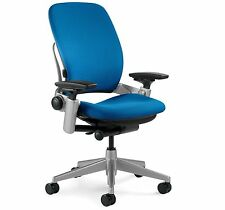 New Steelcase Leap Chair Adjustable Desk Buzz2 Blue Fabric Seat - Platinum frame