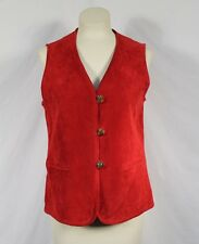 NWT Diane Gilman Collection Solid RED Suede Leather Vest Sz Petite Small PS