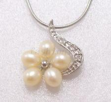 Authentic White Pearl Crystal Flower Necklace Pendant