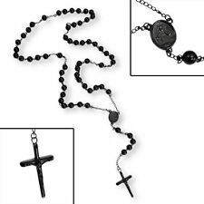 Black Stainless Steel Plated Rosary Bead Necklace Pendant - Religious Crucifix