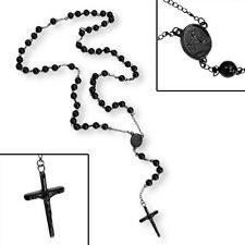 Acero Inoxidable Negro Plateado rebordea el collar colgante-Religiosa Crucifijo