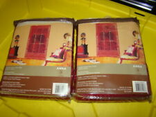 "Anna Burgundy LACE Curtain Rod Pocket Panel Set of 2 NEW Scalloped 60"" x 63"" V3"