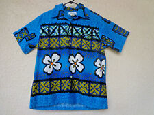 Vintage 60s Hawaiian Shirt Penney's Hawaii Label Cotton Barkcloth MOD Tribal S M
