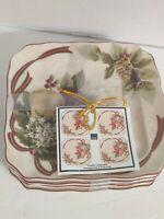 222 Fifth Yuletide Celebration Pomengranite & Pinecones Dessert/appetizer Plates