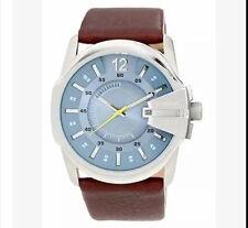 Mens New Fashion Watch Big Dial leather Steel Quartz Sport Analog Watches Brown