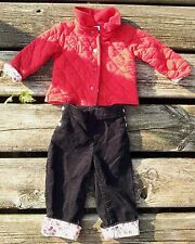 Red Quilted Jacket Coat w/ Black Corduroy Pant Winter 2 pc set Floral Cuffs 9 mo
