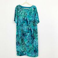 NEW Maggie Barnes Size 24W Dress Blue Green Floral Short Sleeves Faux Wrap Front