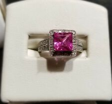 $389 Jared 10k White Gold pink 2ct lab sapphire diamond cocktail Ring