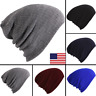 Men Ladies Knitted Woolly Winter Slouch Beanie Hat Cap One Size skateboard USA