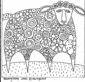 RUG HOOK Craft PAPER PATTERN Blooming Sheep FOLK ART ABSTRACT PRIMITIVE Karla