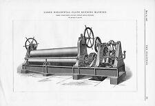 The Engineer 1887 Antique Engineering Print Horizontal Plate Bending Machine