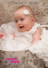 PRINCESS-DREAMS 79 NEU Baby Mädchen TAUFE Haarband Hochzeit weiß Blume Kopfband