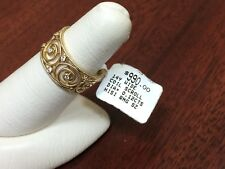 Zeghani 14K Gold Wide Coil Scroll Diamond Ring, Size 7, Retail $990, 5.5 Grams