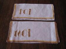 Lot de 2 range serviette, pochettes , broderie, linge ancien TOI & MOI