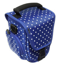 Trendz Universal Bridge Camera Case Blue White Polka Dots Zipped Opening