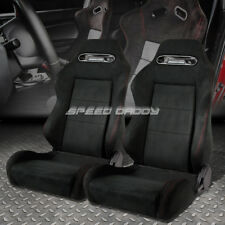 2 X FULLY RECLINABLE TYPE-R BLACK SUEDE SPORTS RACING SEAT/SEATS+SLIDER RAIL SET