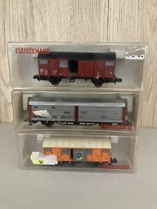 Rake of 3 Fleischmann N Gauge Wagons 8330 8331 8335 VGC