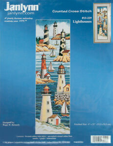 """Janlynn Counted Cross Stitch Kit 6""""X21""""-Lighthouses (14 Count) -13-0229"""