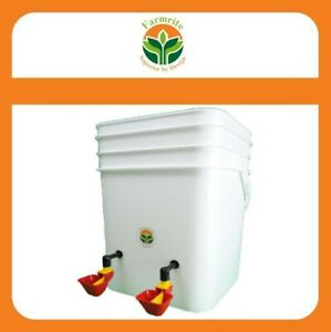 10 LITRE Chicken Waterer System Automatic Chook Water Feeder Gravity Feed 2 Cup