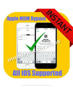MDM / REMOTE MANAGEMENT BYPASS FOR iPHONE/ iPOD/ iPAD ALL IOS SUPPORTED