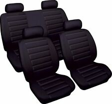 BLACK CAR SEAT COVER SET LEATHER LOOK  FRONT & REAR ROVER 45 SALOON 2001 > 2004