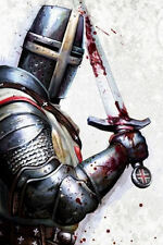 Framed Print - Knights Templar Standing with Bloody Sword (Picture Poster Art)