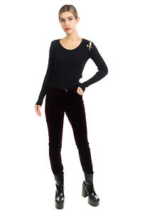 RRP €185 MAJE Velour Trousers Size 38 / M Stretch Zip Fly Mid Waist
