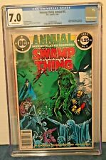 SWAMP THING ANNUAL 2 CGC 7.0 NEWS STAND 1ST CAMEO JLD OFF-WHITE PAGES