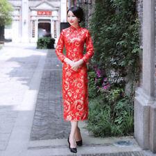 faac1038533 Long sleeved printed brocade red cheongsam size Medium