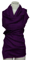 Schal 100% Wolle Lila Paisley scarf wool écharpe Jacquard uni sciarpa Purple