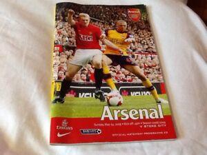 Official Match  Day Programme Arsenal   V Stoke City 2008/2009 Sunday May 24th