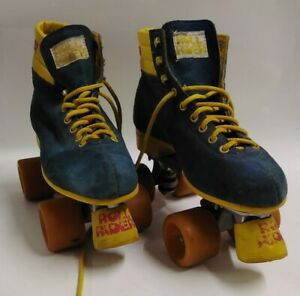 Vintage 1980s Roll Rider Blue Suede & Yellow Roller Skates Size6