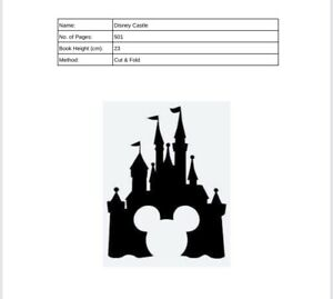 Book folding Pattern Disney Castle. Cut And fold.
