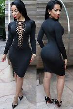Abito aperto Nudo aderente Lacci Midi string Lace up Bodycon Dress clubwear M