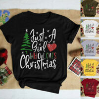 Women Fashion Christmas Tree Casual Loose Just A Girl Loves Tops Blouse T Shirt