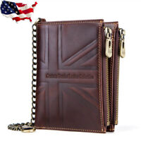 RFID Crazy Horse Genuine Leather Vintage Men's Chain Wallet Short Union Flag USA