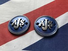 Pair Of AJS Tank Badges Blue And Silver Ajs Emblem