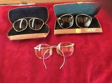 Lot of 3 Vintage Clear Glass Gold Wired Frames & 2 Eye Cases Sunglasses Clip On