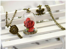hot Disney Beauty and the Beast Enchanted Rose Petal Necklace Chain Pendant new